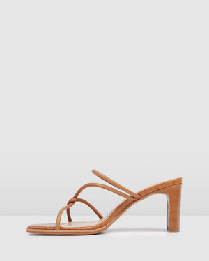 NOVI MID HEEL SANDALS TAN LEATHER