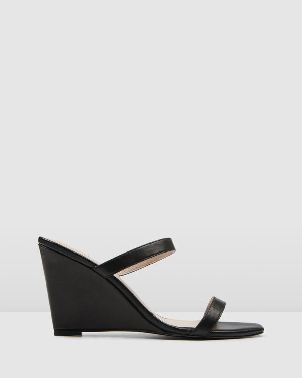 OLYMPIA HIGH HEEL SANDALS BLACK LEATHER