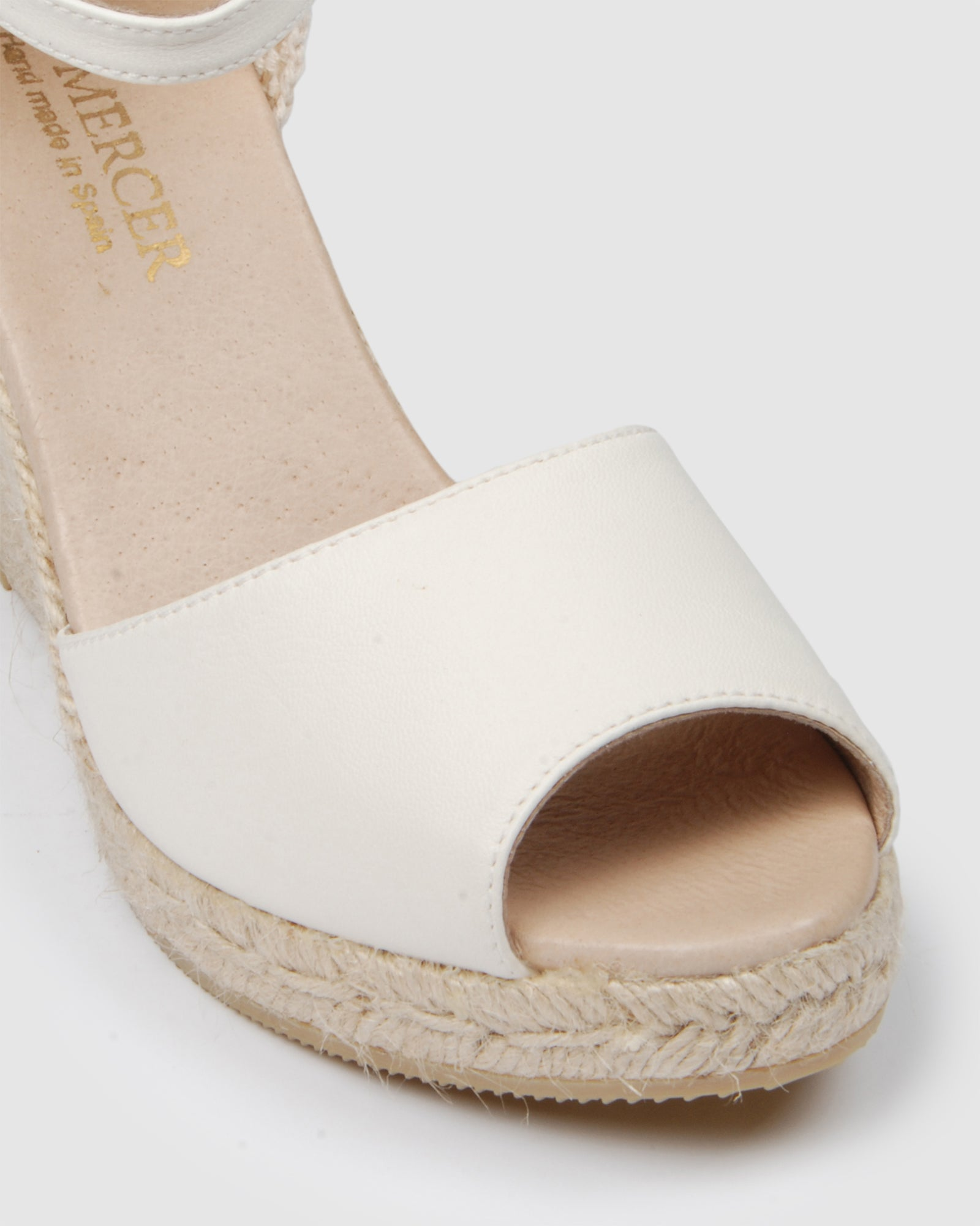 OPHRA HIGH HEEL WEDGE ESPADRILLES WHITE LEATHER