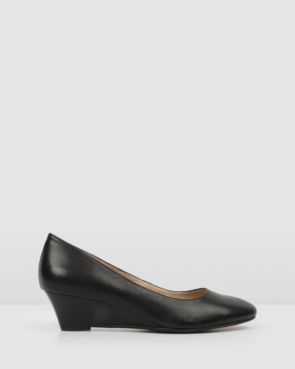 ORIANA LOW HEEL WEDGES BLACK LEATHER