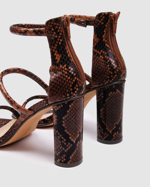 PHOENIX HIGH HEEL SANDALS BROWN SNAKE
