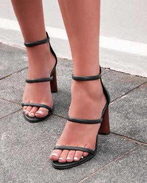 PHOENIX HIGH HEEL SANDALS GREEN LEATHER