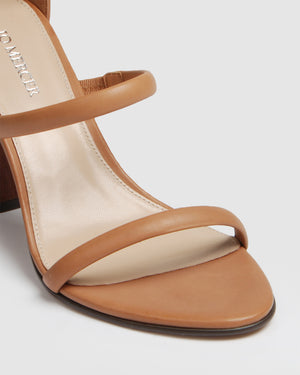 PHOENIX HIGH HEEL SANDALS TAN LEATHER