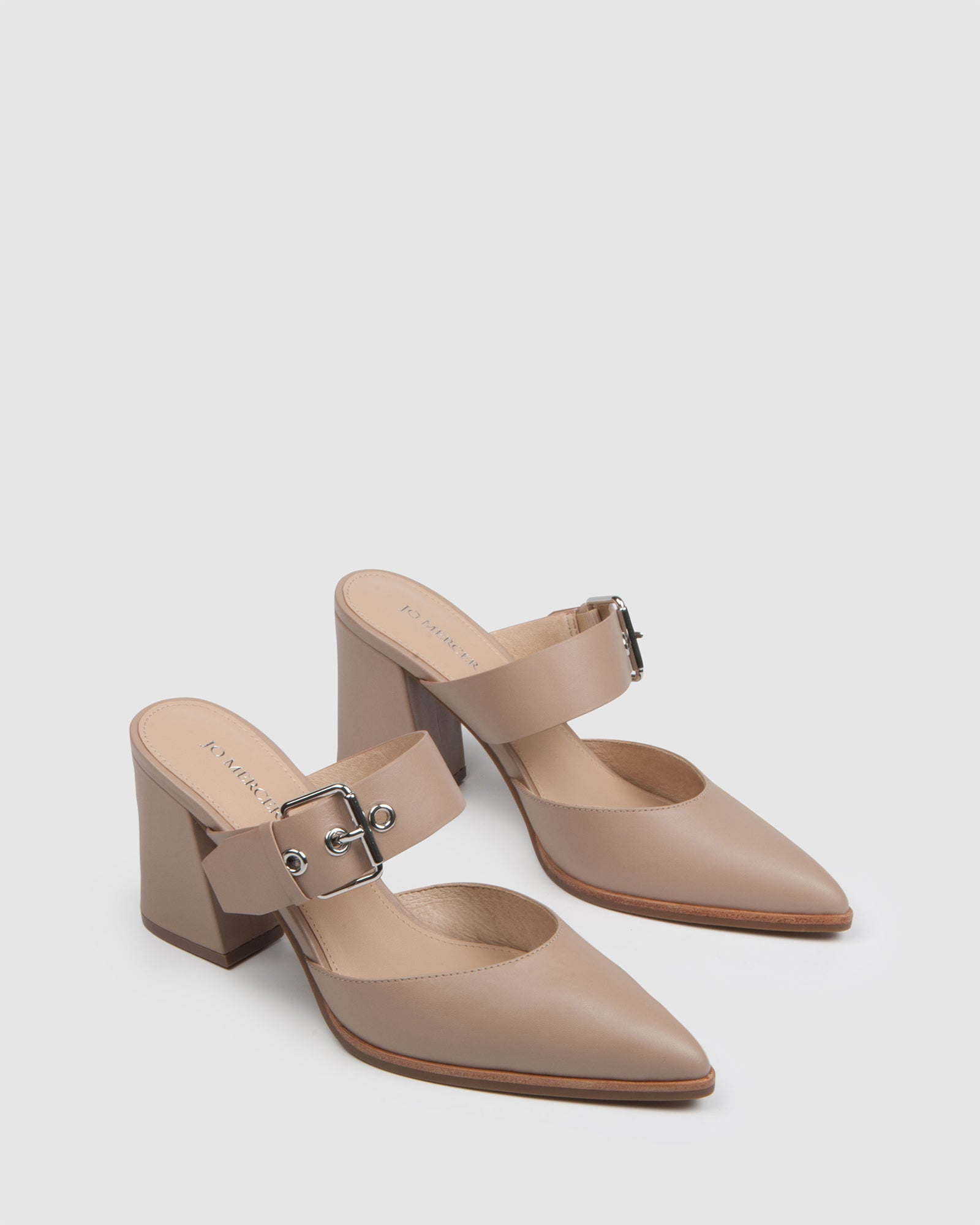 PIVOT MID HEELS BEIGE LEATHER