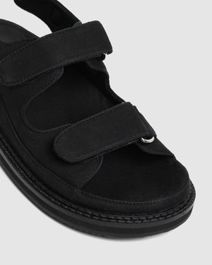 POET FLAT SANDALS BLACK CANVAS