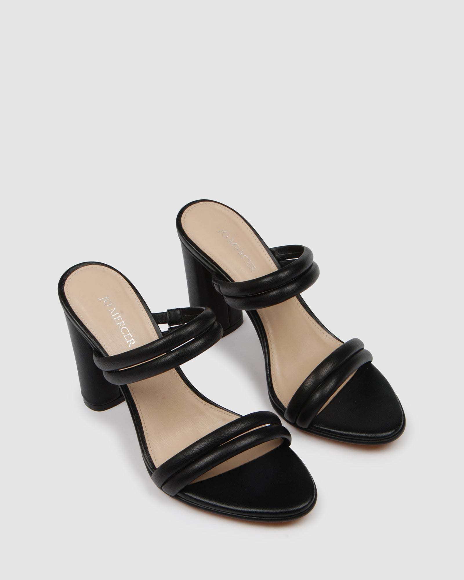 POMONA HIGH HEEL SANDALS BLACK LEATHER