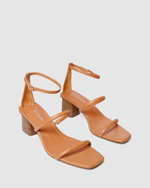 QUINN MID HEEL SANDALS PEACH LEATHER