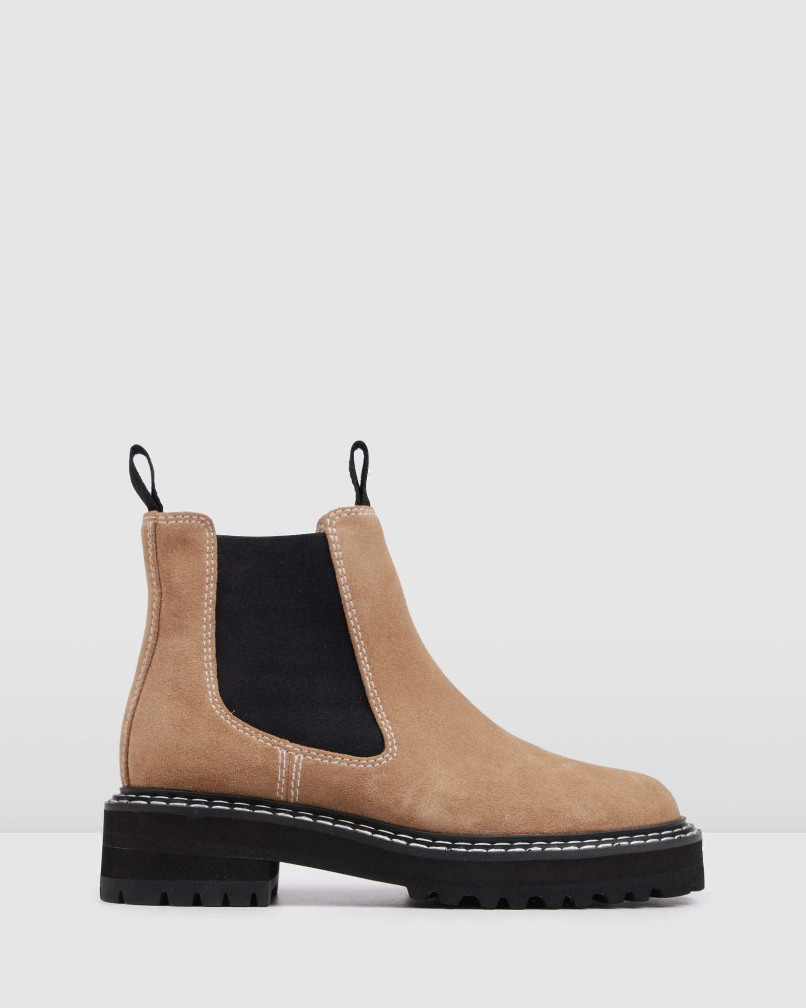 RALEIGH FLAT ANKLE BOOTS NATURAL SUEDE