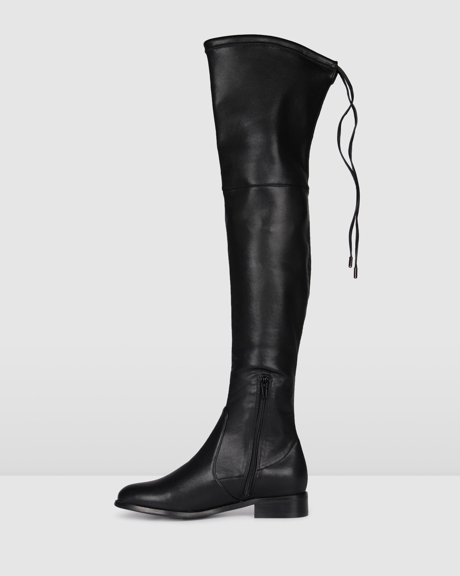 RAVELLO OVER THE KNEE BOOTS BLACK MICRO STRETCH