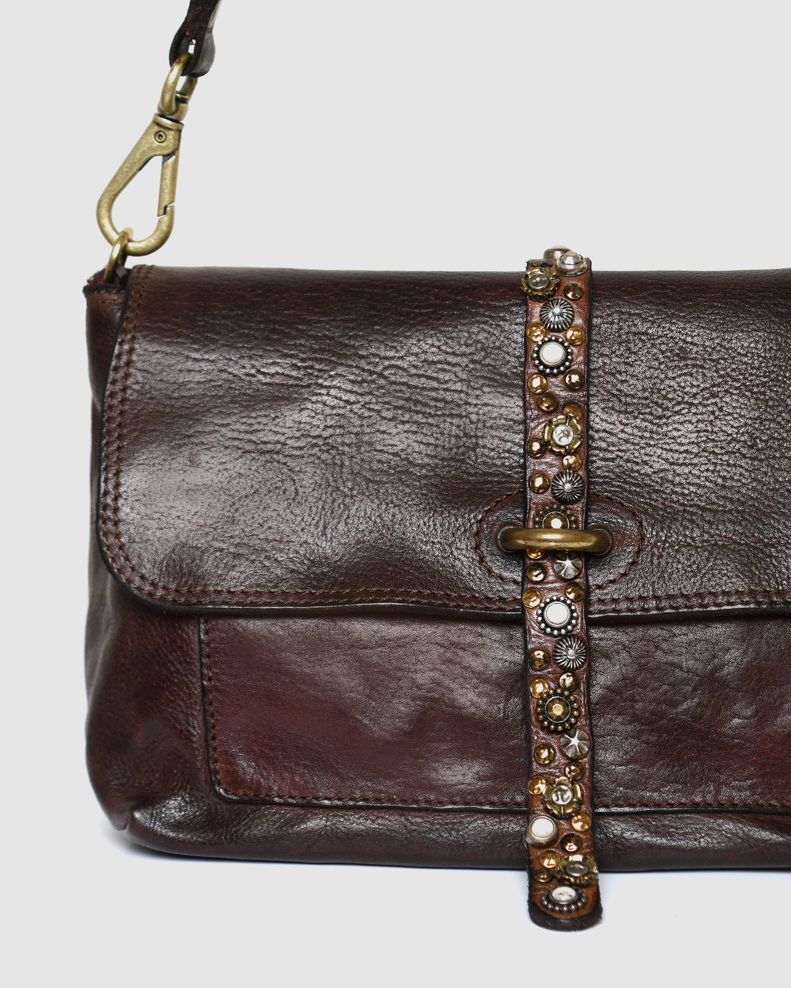 CAMPOMAGGI RAVENNA CROSSBODY BAG DARK BROWN LEATHER