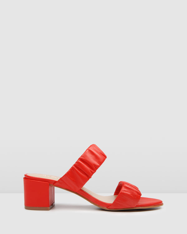 RIPLEY LOW HEEL MULES RED LEATHER