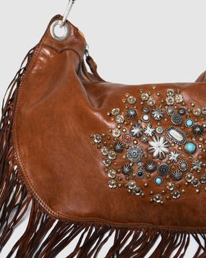 CAMPOMAGGI ROSETTE FRINGED SHOULDER BAG COGNAC LEATHER