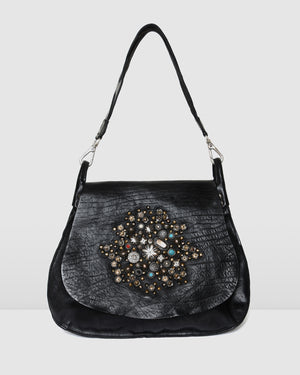 CAMPOMAGGI ROSETTE SHOULDER BAG BLACK LEATHER