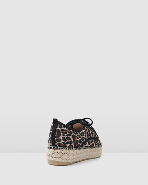 ROXY LACE UP ESPADRILLES LEOPARD