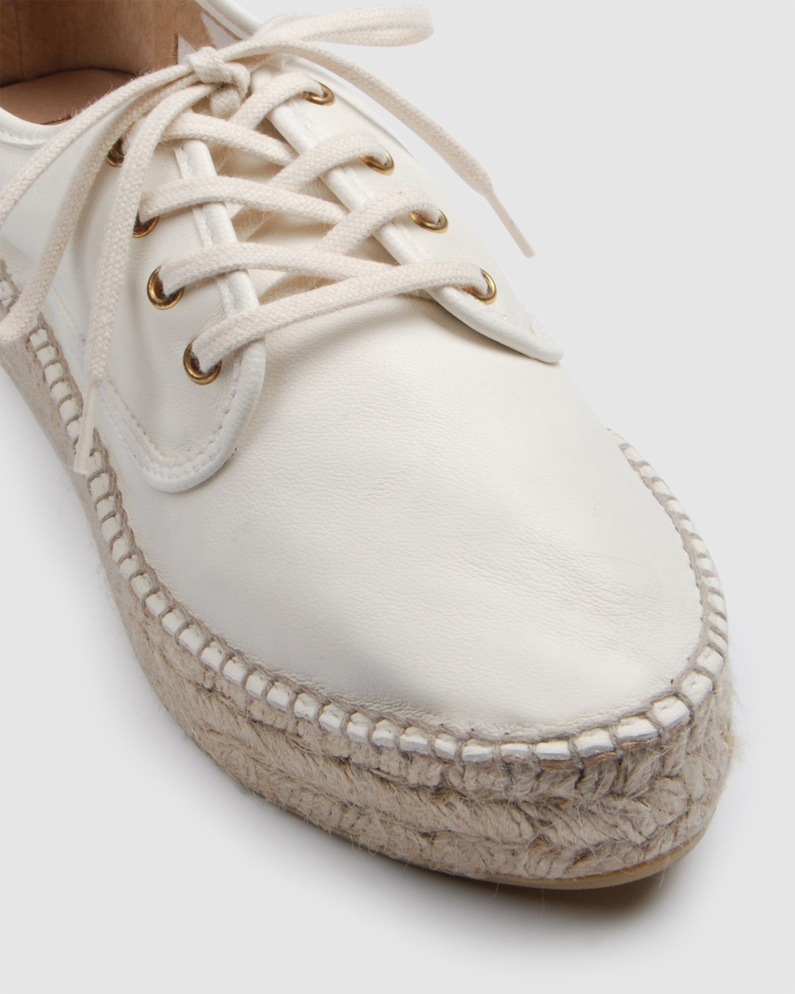 ROXY LACE UP ESPADRILLES WHITE LEATHER