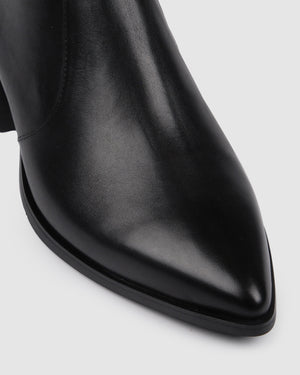 RUMBA FLAT ANKLE BOOT BLACK LEATHER