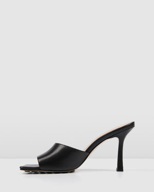 ROUGE HIGH HEEL SANDALS BLACK LEATHER