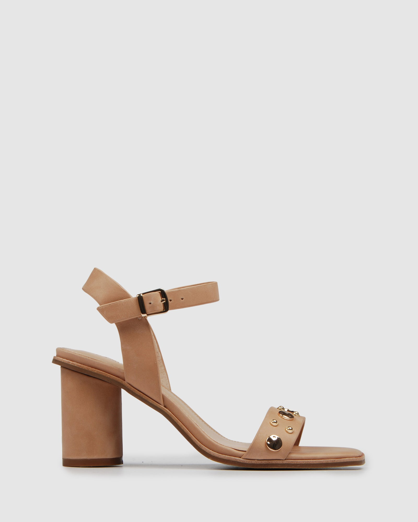 SABRINA MID HEEL SANDALS NATURAL LEATHER