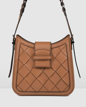 SAFFRON SHOULDER BAG TAN LEATHER
