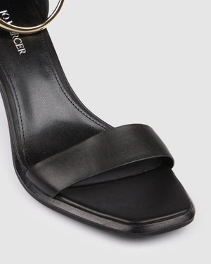 SAMARA MID HEEL SANDALS BLACK LEATHER