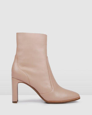 SAVANNAH HIGH ANKLE BOOTS BEIGE LEATHER