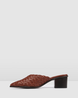 SERAH LOW HEELS DARK BROWN LEATHER