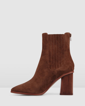 SIMONA HIGH ANKLE BOOTS TAN SUEDE