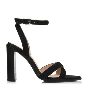 SLICE HIGH HEEL SANDALS BLACK NUBUCK