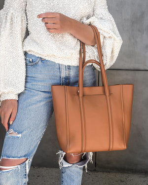 ALESSA TOTE BAG TAN LEATHER