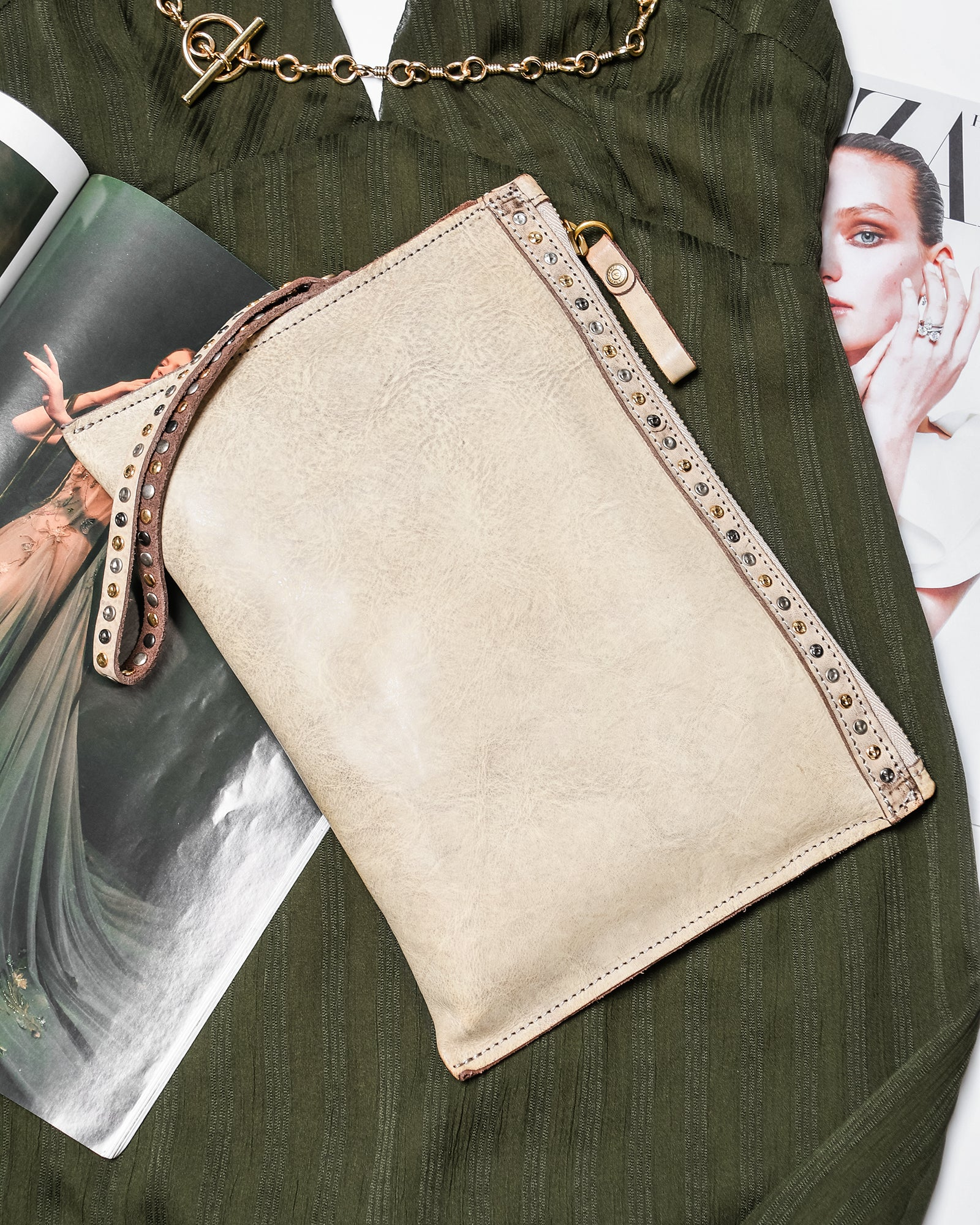 CAMPOMAGGI PIX CROSS BODY BAG BONE LEATHER