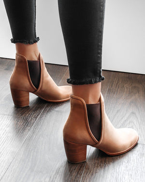 FIERCE MID ANKLE BOOTS CHOCOLATE LEATHER