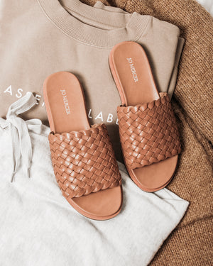 BEAU FLAT SANDALS TAN LEATHER