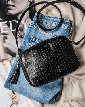 HARTLEY CROSS BODY BAG BLACK CROC