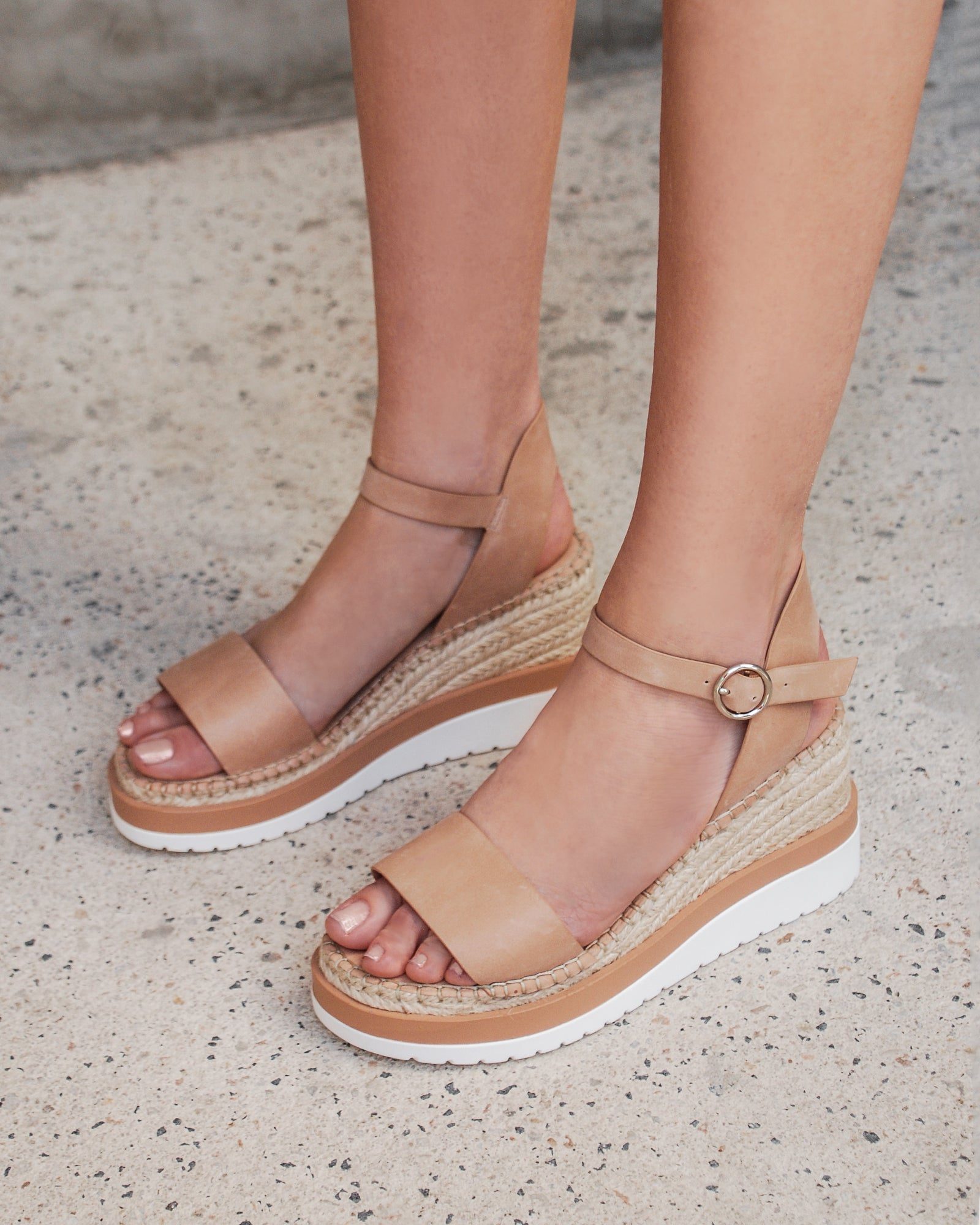 KANDY MID HEEL WEDGE ESPADRILLES NATURAL LEATHER