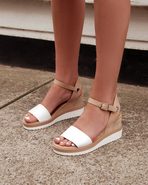KENZIE MID HEEL WEDGES WHITE/NATURAL