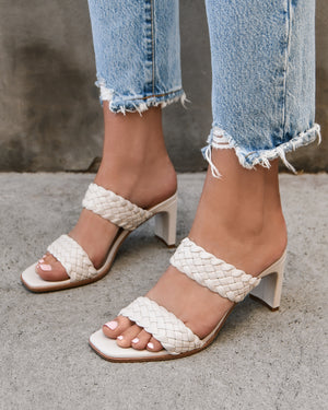 NICO MID HEEL SANDALS BONE LEATHER