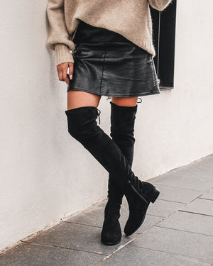 RAVELLO OVER THE KNEE BOOTS BLACK SUEDE MICRO