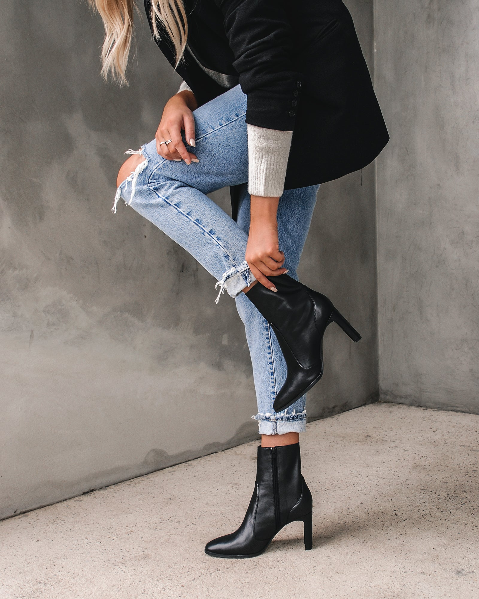 high leg ankle boots