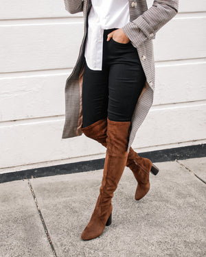 SONNY HIGH OVER THE KNEE BOOTS DARK TAN