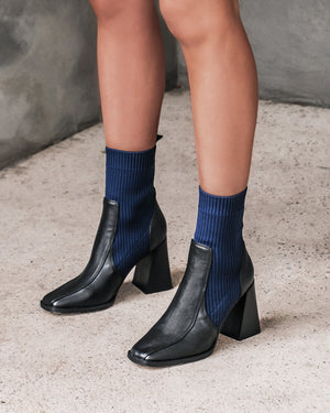 TALISA HIGH ANKLE BOOTS BLACK NAVY