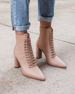 TEE HIGH ANKLE BOOTS BEIGE LEATHER