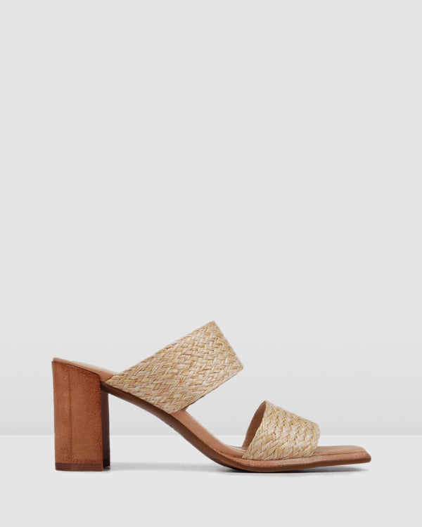 SURREY MID HEEL SANDALS NATURAL RAFFIA