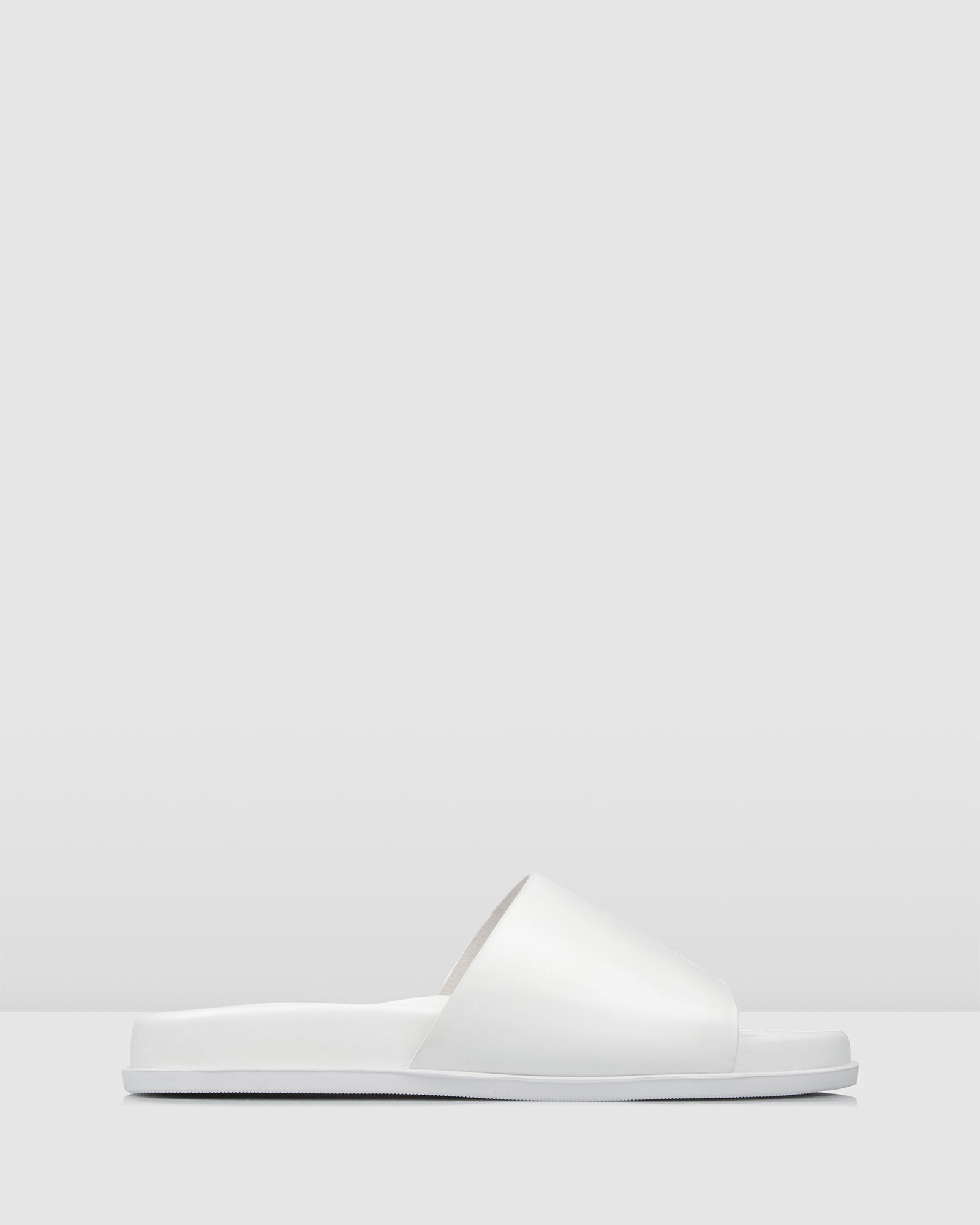 SWIM FLAT SLIDES WHITE LEATHER