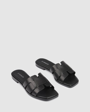 TARA FLAT SLIDES BLACK LEATHER