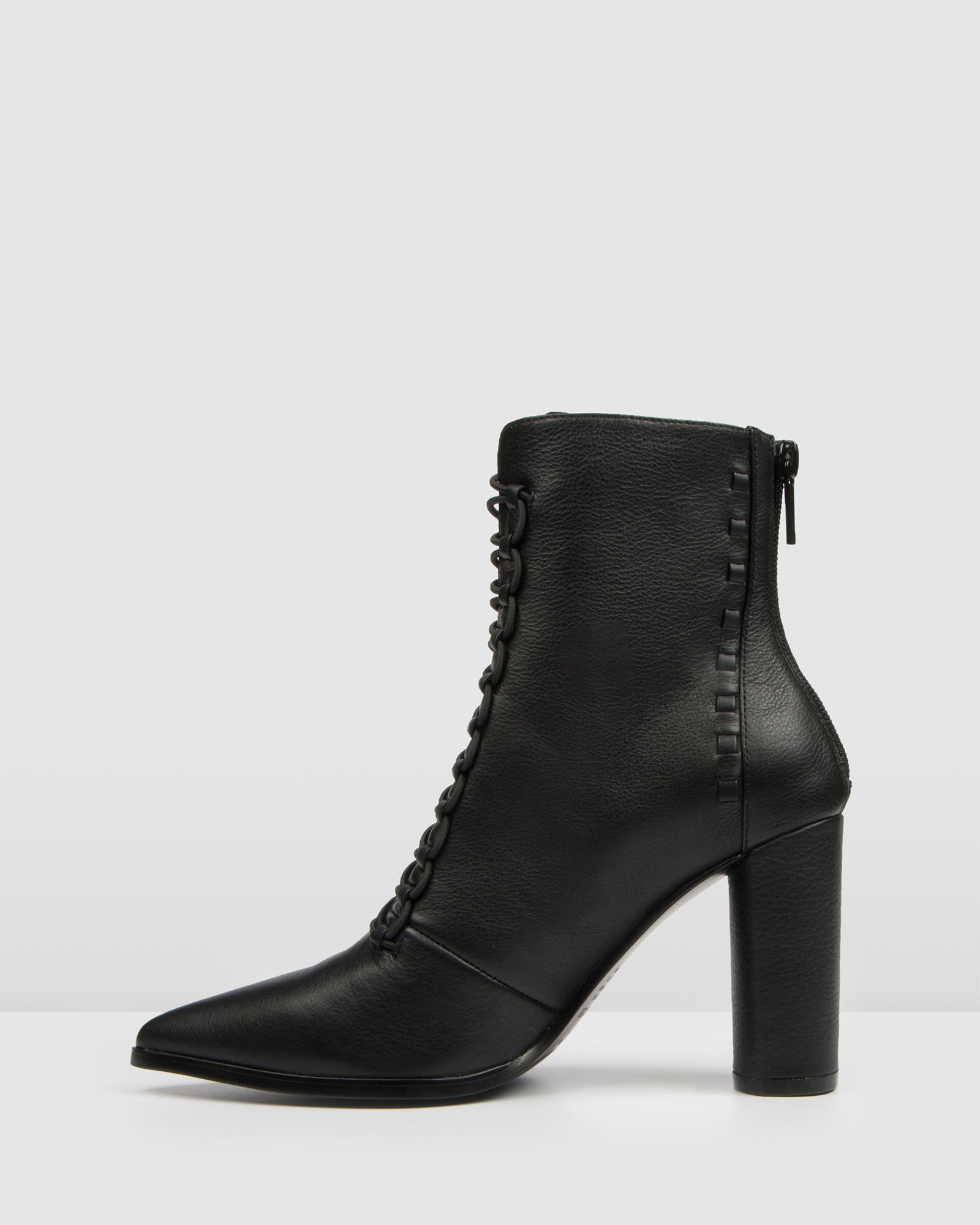 TEE HIGH HEEL ANKLE BOOTS BLACK LEATHER