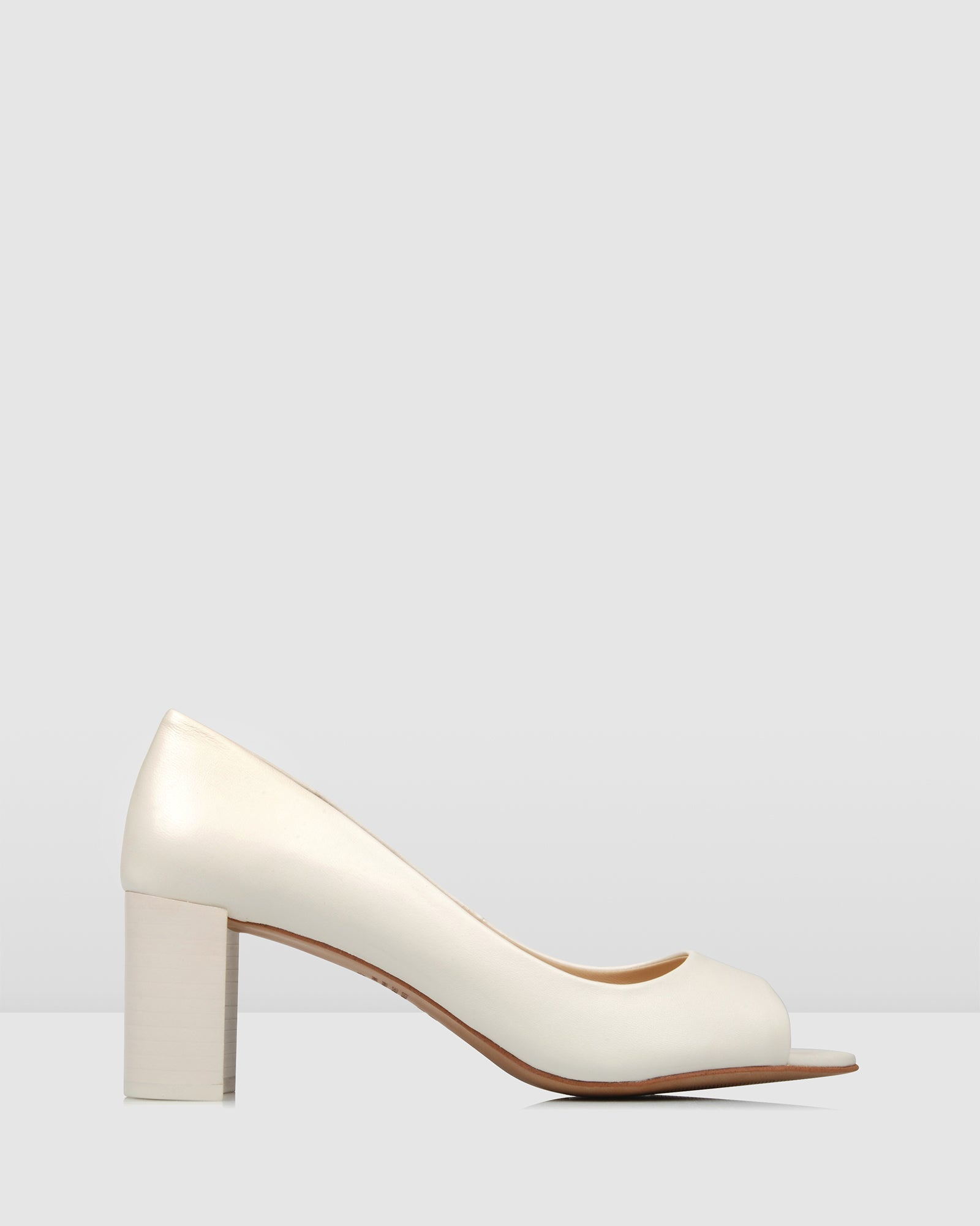 TIGER MID HEELS OFF WHITE LEATHER