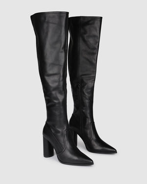 TONIC OVER THE KNEE BOOTS BLACK LEATHER