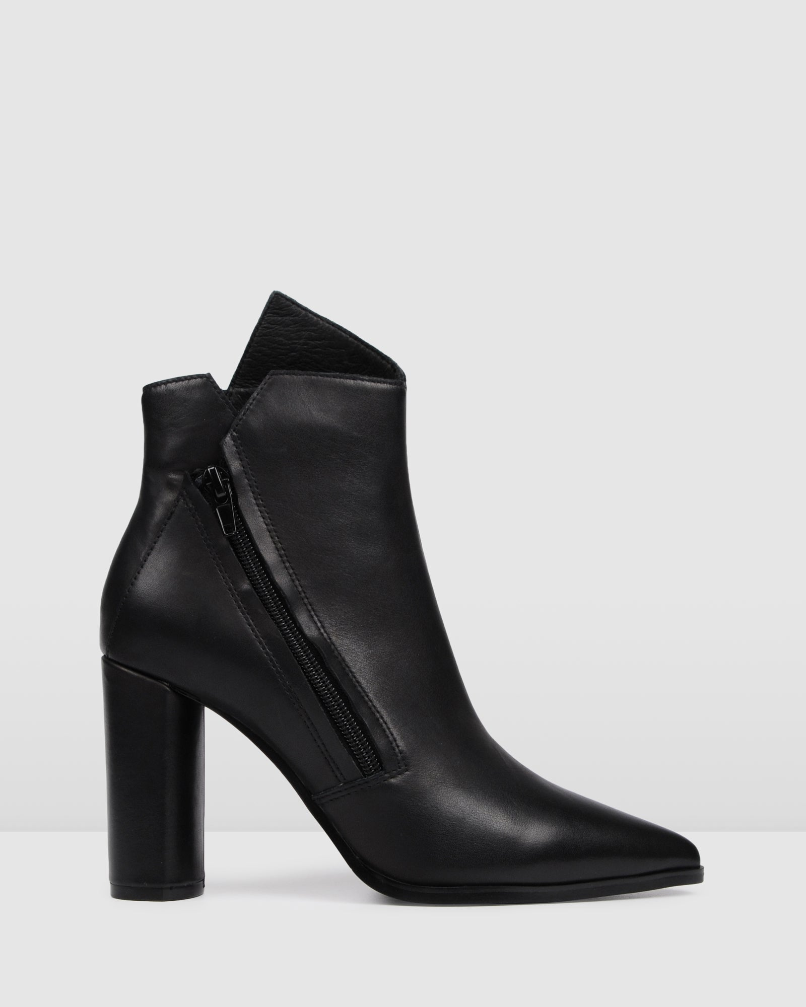 black leather high heel ankle booties