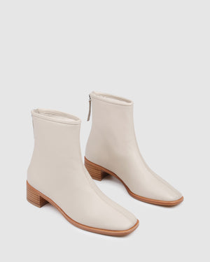 VALANCE FLAT ANKLE BOOTS BONE LEATHER
