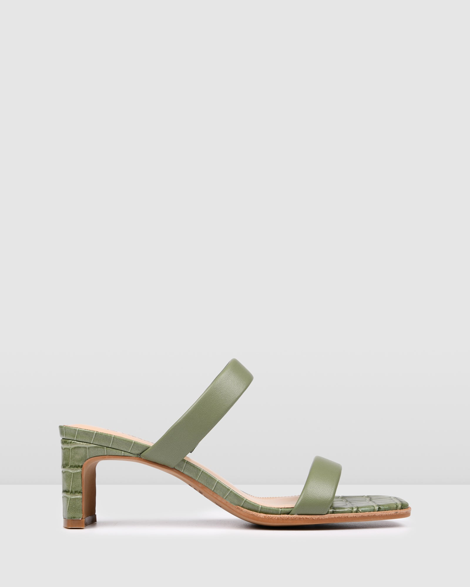 VANISH MID HEEL SANDALS SAGE CROC